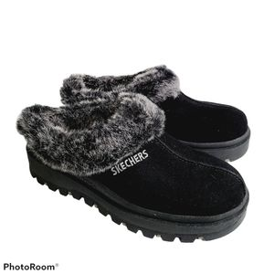 Skechers Slippers Shindigs Fortress Black Leather